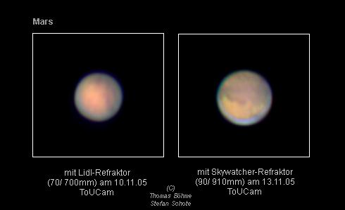 Mars im lidl & 90 910 refraktor objekt des jahres 2005: mars